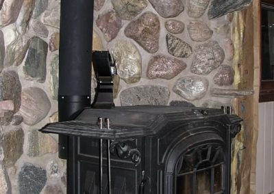 Mortared Field Stone Fireplace