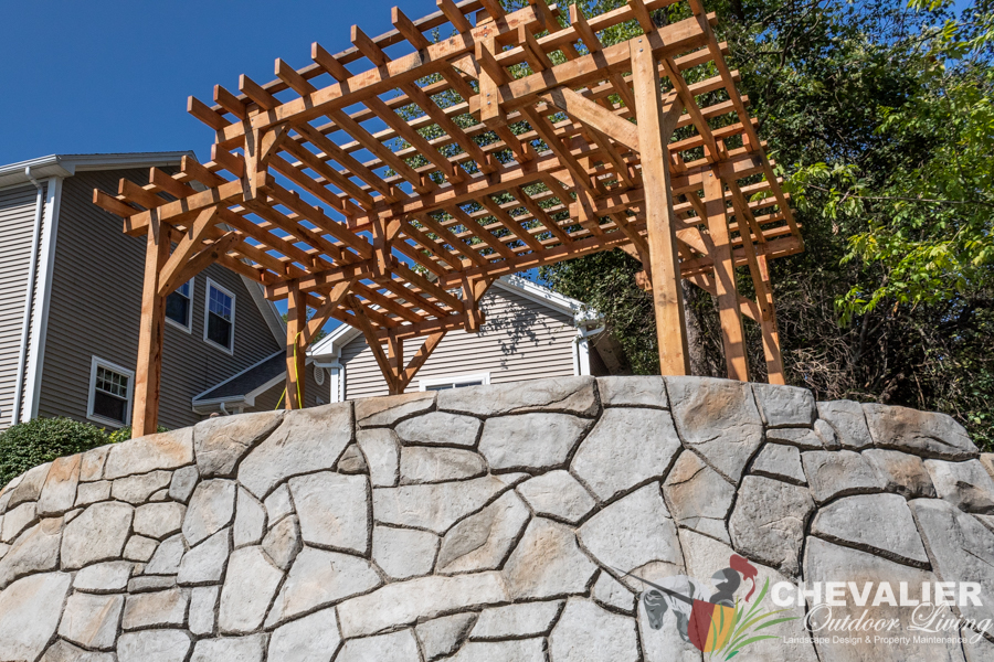 Post & Beam Structure & Concrete Retaining Wall