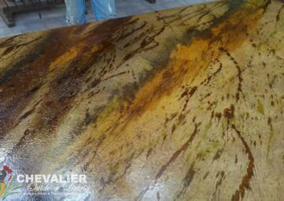 Acid Stained Concrete Countertop with Polished Finish
