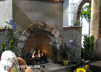 Natural Stone and Stucco Fireplace