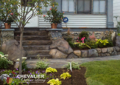 Custom Carved & Colored Concrete Steps, Wall  & Walkway