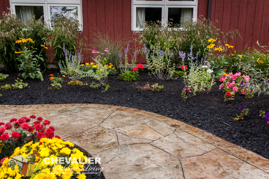 StoneMakers Stamped, Carved & Colored Concrete Walkway with Mature Perennial Garden