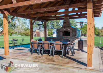 Carved Concrete and Brick Oven and Outdoor Kitchen