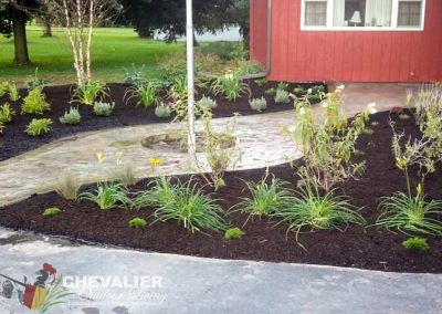 StoneMakers Stamped, Carved and Colored Concrete Walkway & Perennial Garden Installation