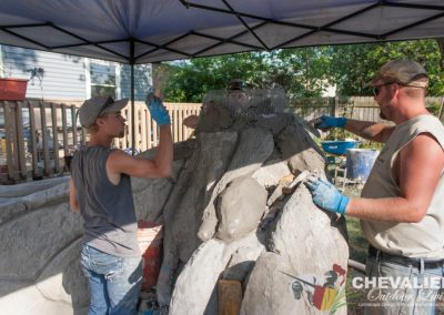 Installation of Carved Concrete Water Feature
