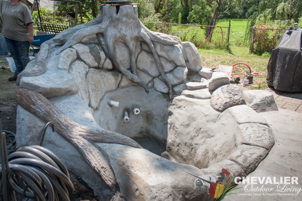 Carved Concrete Water Feature Before Color