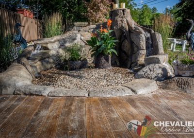 Carved Concrete Water Feature & Stamped Patio