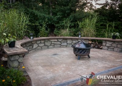 Stamped Concrete Patio & Bench Installation