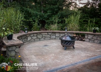 Stamped Concrete Patio and Carved Concrete Bench