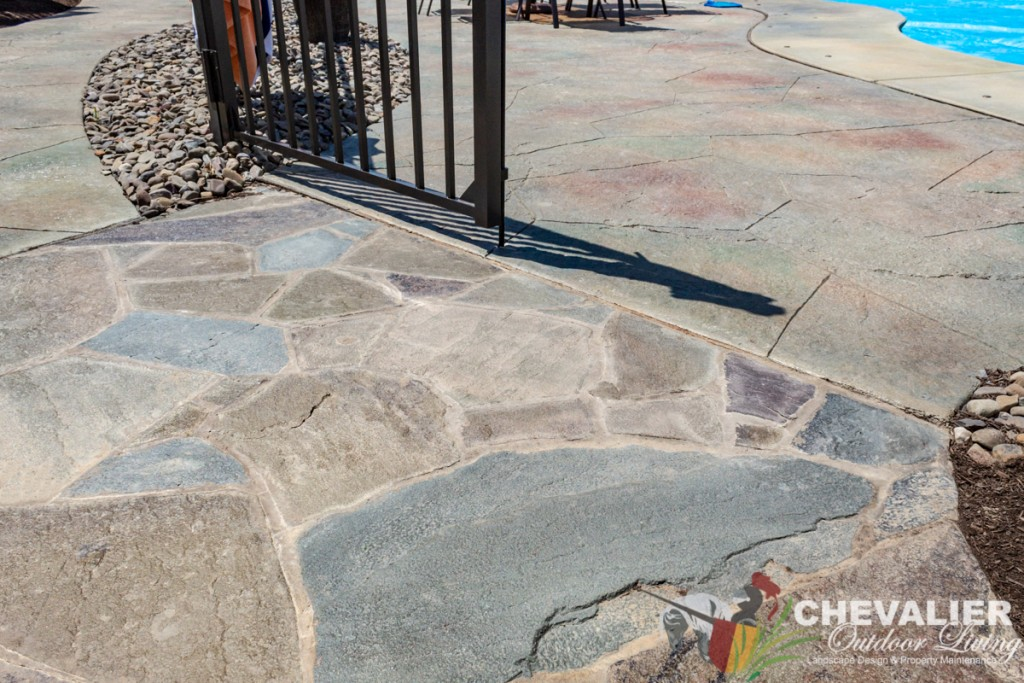 Mortared Flagstone Walkway into Stamped Concrete