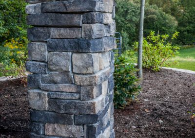 Natural Stone Pillar with Concrete Cap