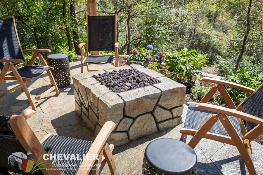 Hillside Patio with Concrete Fire Pit