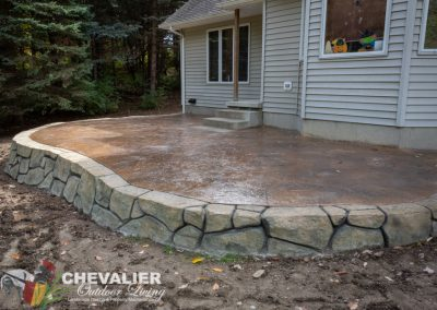Stamped Concrete Patio and Wall Installation