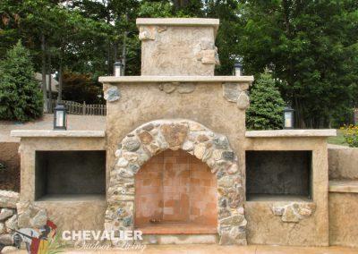 Natural Stone & Stucco Fireplace