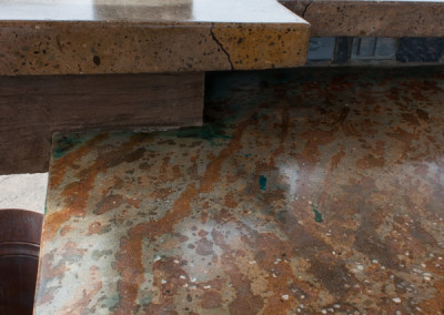 Dual Level Acid Stained Concrete Countertop, Carved Concrete Detail
