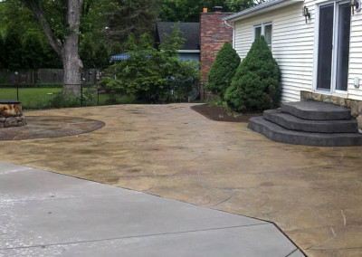 StoneMakers Stamped, Carved & Colored Fire Pit, Patio and Steps