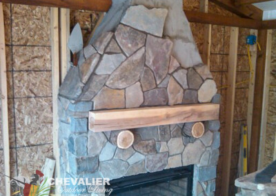Mortared Natural Stone Fireplace