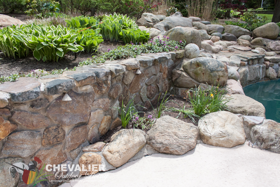 Before: Stone Wall Cleaning