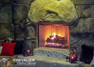 StoneMakers Carved Concrete Fireplace