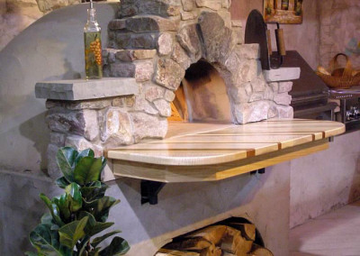 Natural Stone Oven with Wood Counter