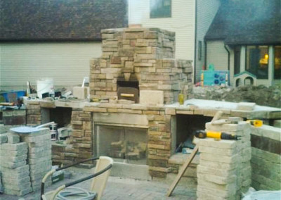 Natural Stone and Brick Oven and Outdoor Kitchen