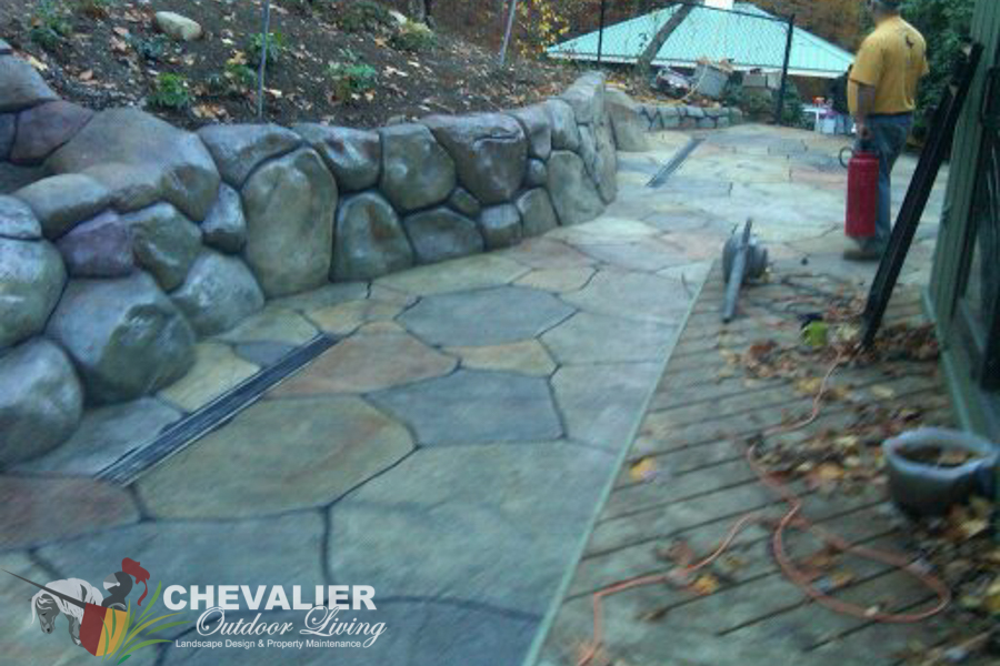 Custom Carved & Colored Concrete Wall & Patio