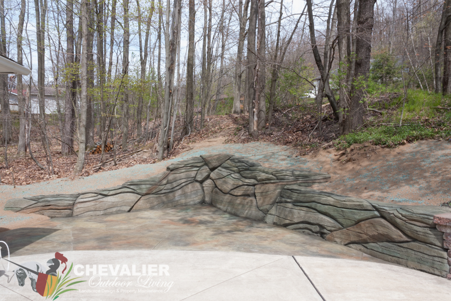 New Stamped, Carved and Colored Concrete Driveway Extension and Retaining Wall