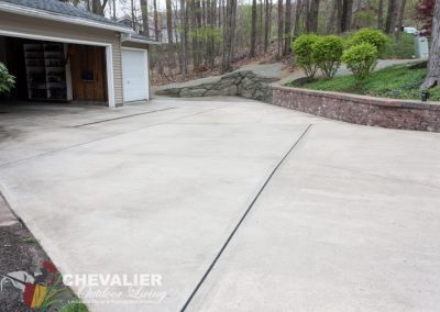 Cleaned & Sealed Driveway with New Extension and Retaining Wall
