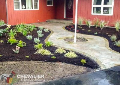 Stone Makers Stamped, Carved and Colored Concrete Walkway & Perennial Garden Installation