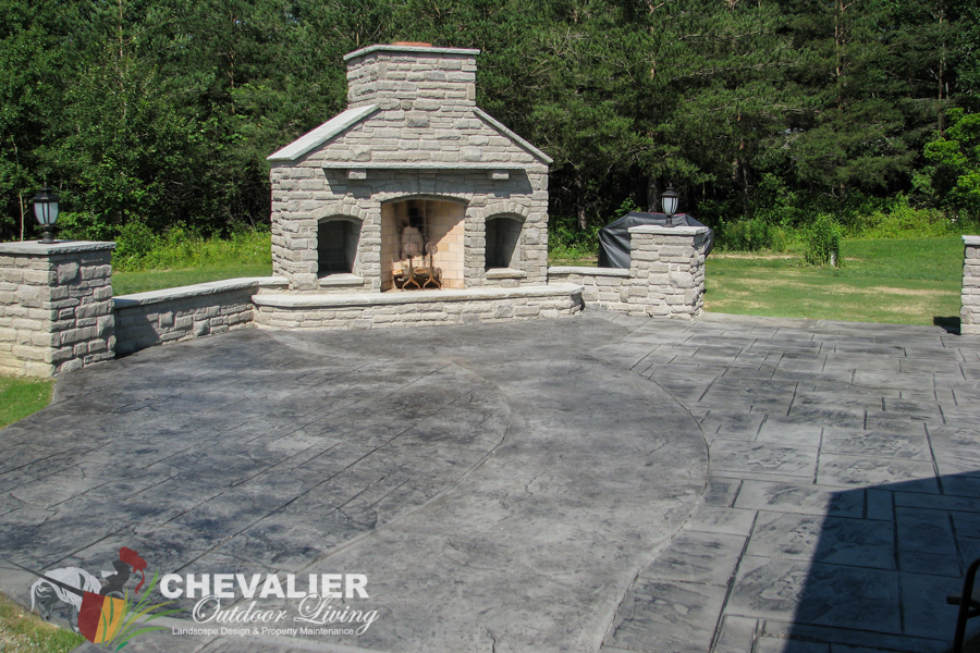 Completed Rumford Fireplace with Citadel Stone & Concrete Patio