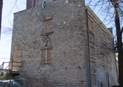 Historical Hull House Mortar Stucco Removal Phase on Back Side