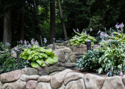 Hardscape with Mature Landscaping.
