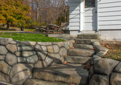 Carved and Colored Concrete Wall & Steps